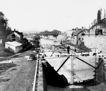An old picture of the Bytown Museum in black and white.